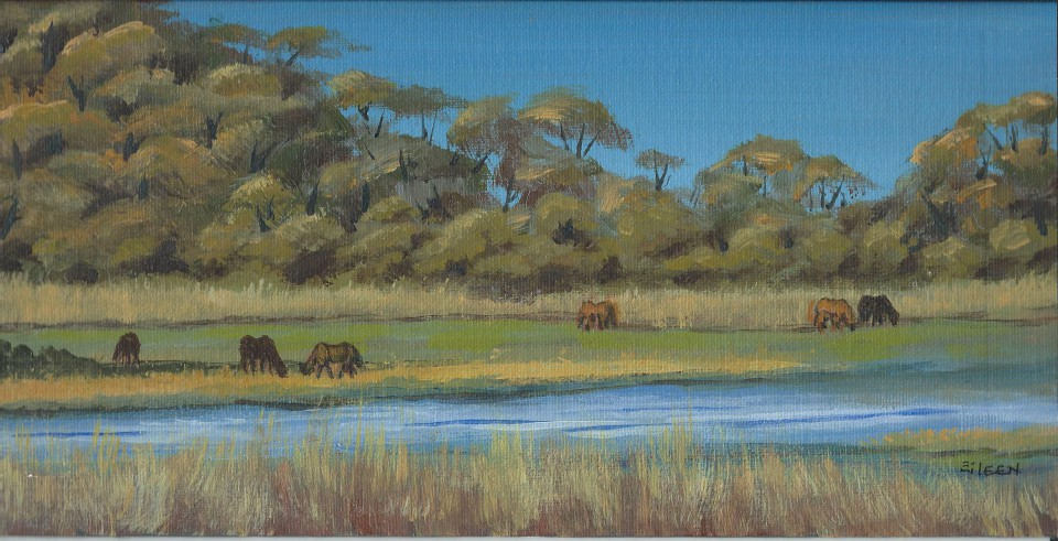 Horses at Chincoteague 6x12 Acrylic