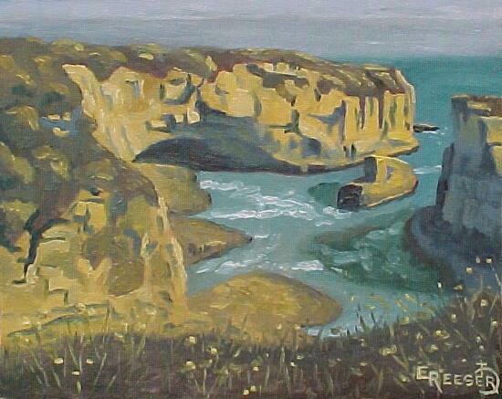 Ocean Cliffs I - 8X10 Oil